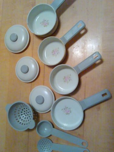 Vintage Ohio Arts COQUEVAL Pots Pans Set PINK ROSES & GRAY