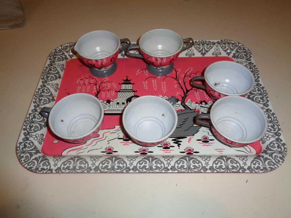 VTG OHIO ART Childs Swan Tin Metal Tea Set 4 Cups, Tray and Cream & Sugar EUC
