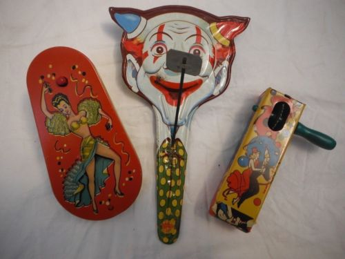 Set of Three Vintage Noisemakers US Metal Toy Mfg Co Litho Tin