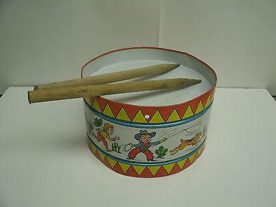 Vintage Tin Litho Cowboy & Indian DRUM w/ drumsticks - J.CHEIN USA 9
