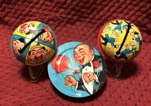 3 vintage New Years U.S. Metal Clown, Party Goers, Man w/Balloons Noise Makers