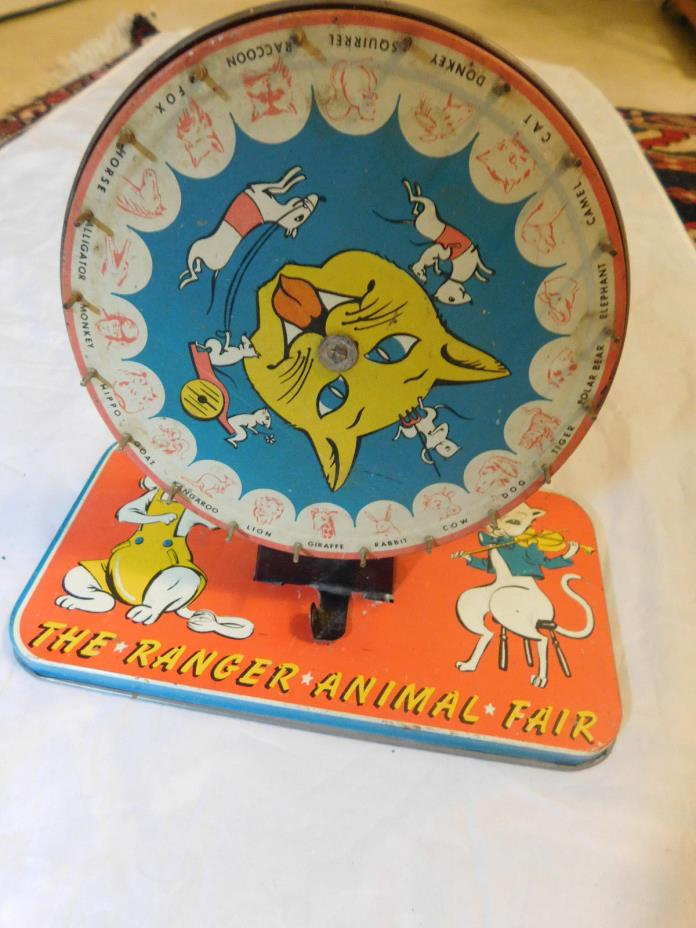 VINTAGE THE RANGER ANIMAL FAIR TIN CAT SPINNING WHEEL