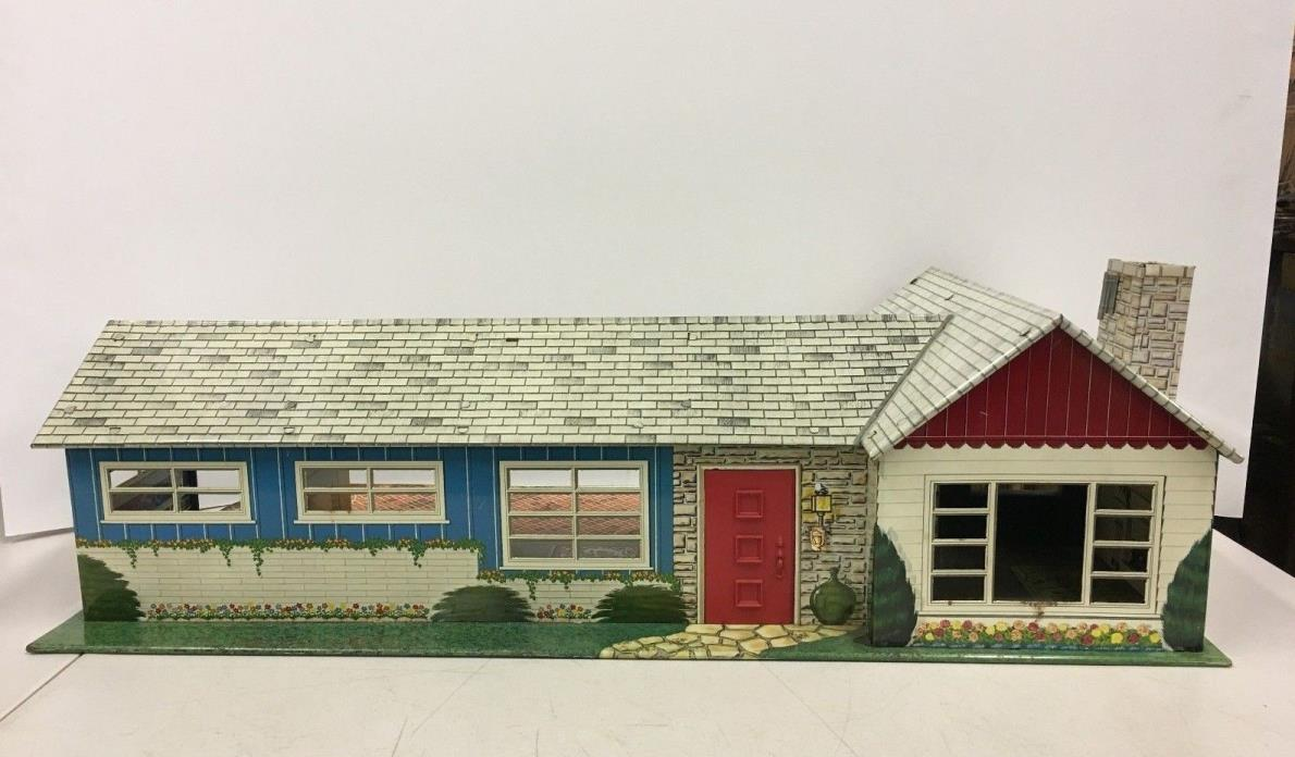 Vintage Marx Ranch Rancher Style Metal Tin Litho Doll House