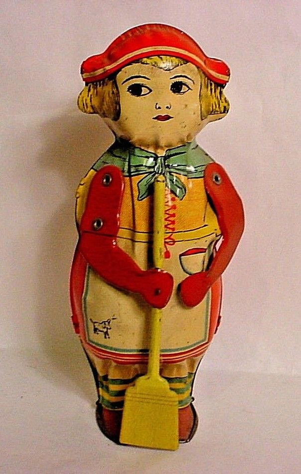 1930's Vintage Lindstrom Sweeping Betty Tin Lithographed Toy-Excellent