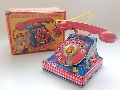 Vintage 1950's Japanese Tin Toy Childrens Telephone in Box-Teddy Bear on Dial