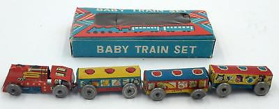Vintage Japanese Tin Penny Toy Baby Train Set in Original Box
