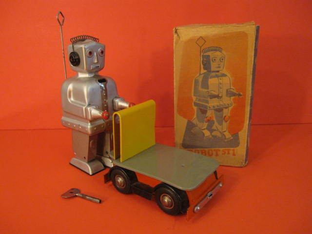 ALL ORIGINAL STRENCO ST-1 ROBOT WITH CART AND ORIGINAL BOX GERMANY 1956