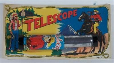 Vintage Tin Cowboy Telescope on Colorful Display Card