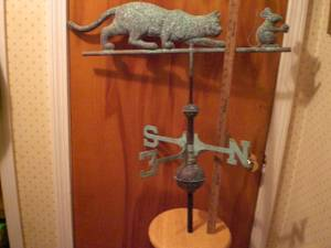 Antique Weather Vane Full Body Cat Mouse (Simsbury)