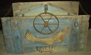 Antique 1863 Western Pennsylvania Tavern Sign Horse Iron Wagon Wheel