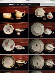 Antique/Vintage Tea cup sets, some 3 legged, footed (Bayview)