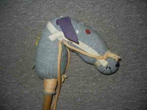 Antique Child's Old Stick Hobby Horse - Hand Made Sock Horse (Haddon Heights)