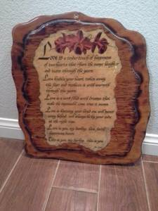 Vintage love poem lacquered wood plaque art