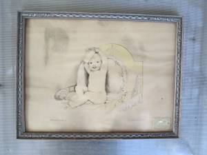 Antique 1930's Winslow Baby Drawing Signed Framed