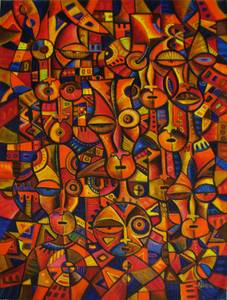 Faces - An original painting from Africa (Hard Rock/UNLV)