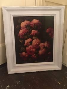 Framed shabby chic vintage print (White Plains)