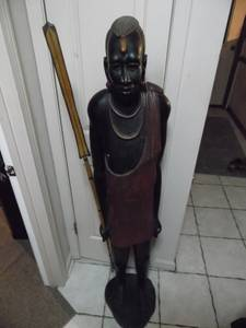 Tribal Art African Warrior Wood Carving 5 foot Tall