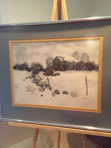 Orginal Watercolor Signed GW Schofield 1970, Stone Barn Landscape (Bala