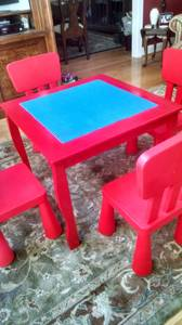BEST EVER Lego Table Set Wooden w/ 4 Plastic Chairs Legos New (West Chester)
