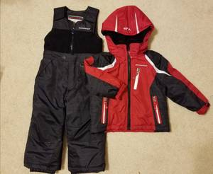 BOYS 2 PC WINTER COAT & OVERALL PANTS SET SIZE 3T WEATHER PROOF (New Lenox)