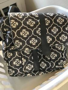 JJ Cole backpack diaper bag - grey pattern with floret (wash park)