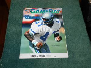 NFL Game Day Program Seattle Seahawks vs Cleveland 1994 Eugene Robinso