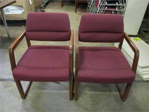 Kimball maroon cloth chairs with wooden frame set of 2 (Auburn)