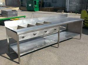 CUSTOM MADE 4 WELL ELECTRIC STEAM TABLE W/PREP AREA (Memphis)