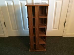 Napa Valley CD Carousel Storage Tower Revolving Wood Display Case Rack
