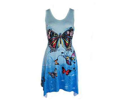 Brand New Peacock Feather and Butterfly Print with Rhinestones Dress