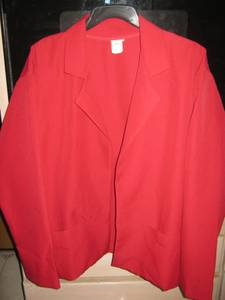 Bright red jacket for office wear..Basic (Far NE Phila)