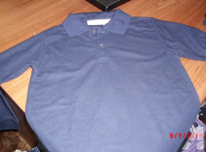 Adult Navy Pique Long Sleeve Polo Shirts