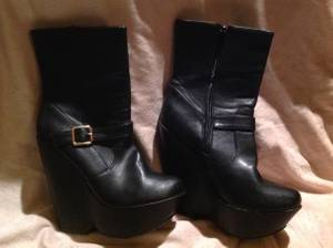 rider boots, New in box; Black pirate boots, wedges, heels, shoes (Bayview)