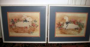 Set of 2-Counted Cross Stitched-Complete-Framed (Bay Ridge, Bklyn)
