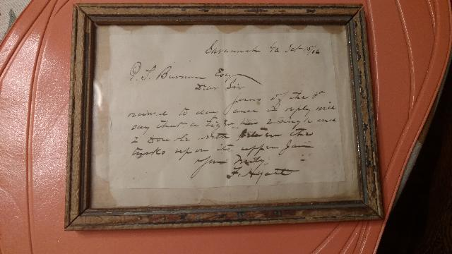 P.T.Barnum Letter and a Letter from Frank Hyatt