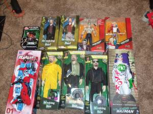 toy man cave collection figures liquor 6 ft shelf etc etc (Greenwood)
