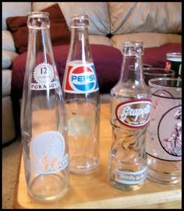 Coke, Pepsi & 7up glasses and bottles (Naches)