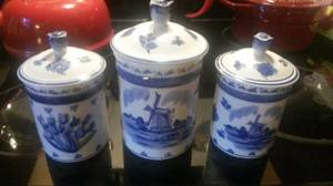 Delft Blue Hand Painted Canisters from Holland (East Atlanta)