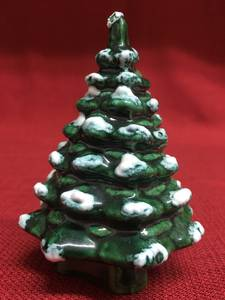 Small Glazed Ceramic Decorative Christmas Pine Tree w/ Snow
