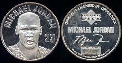 1997 Upper Deck Michael Jordan 1 Troy Ounce . 999 Silver Coin (Highlands Ranch)