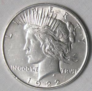 1922 Peace Silver Dollar Coins (Rocky Mount)