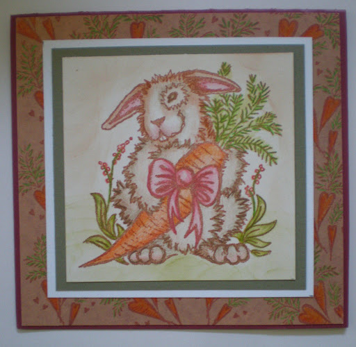 Easter Spring Bunny Rabbit Carrot rubber stamps lot of 3