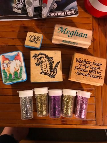 Wood Stamps and Glitter Jars - Craft Supplies, meghan