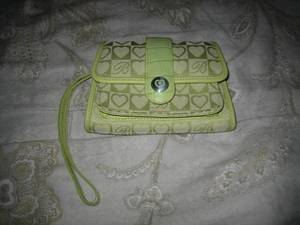 NEW Brighton Canvas Signature Lime Green Wallet Wristlet Croco Leather