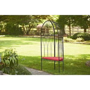 Essential Garden Outdoor Metal Arbor with Bench & Cushion Black & Red (Medford)