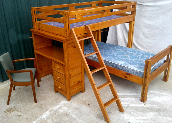 Canyon Furniture Student Loft Bed with Mattresses Desk Chair