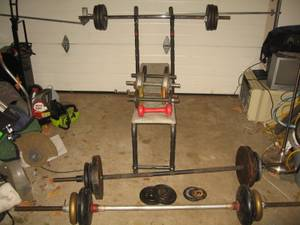 Weights, TV Armoire, Sander, Coffee Mill, Xmas Tree, Golf Clubs, (Collingdale