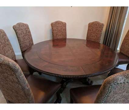Formal Dining room furniture - 6' diameter round table plus 8 chairs