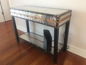 Side couch table metal and leather and wood (Waukesha)