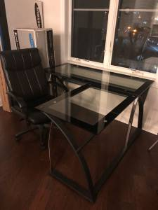 Sharper Image Desk and black chair for sale (Fort Lee NJ)